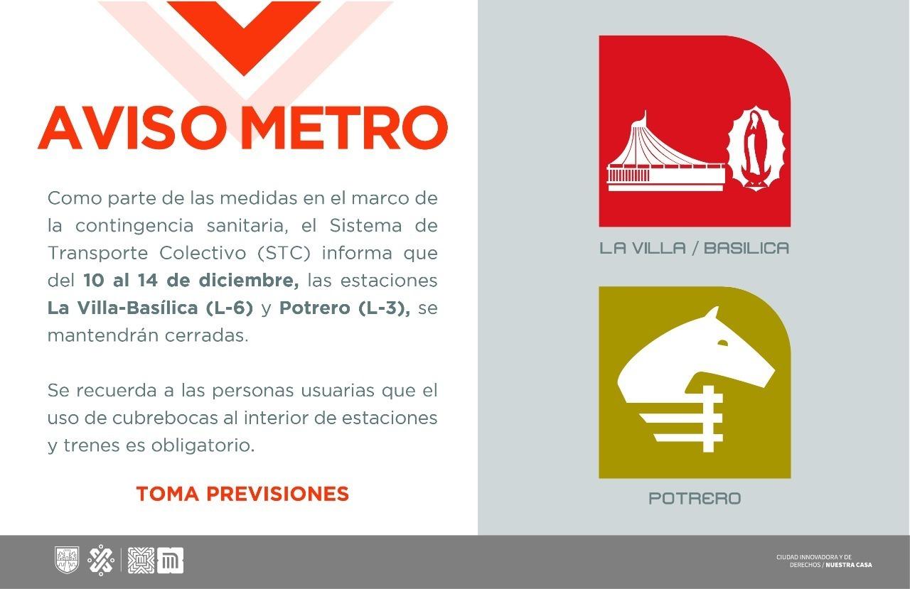 Photo of Estaciones del Metro cercanas a la Basílica van a cerrar del 10 al 14 de diciembre